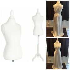 Female Mannequin Torso Dress Form Display Tripod Stand Designer White