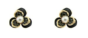Pearl and Black Crystal Flower Earrings With Gold Plated Trim-NEW