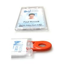 100 X ENCLOSED LOCKABLE ID CARD / BADGE HOLDER - PORTRAIT / VERTICAL -  WITH KEY