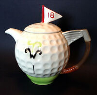 Tony Wood Studios Collectible Golf Ball Teapot - White Silver - Made In England