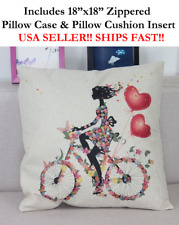 "18"" Beautiful Black Queen Girl Pink Love Bike Hair Throw Pillow Case & Cushion"