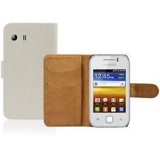 Fundas y carcasas color principal blanco de piel para teléfonos móviles y PDAs Samsung