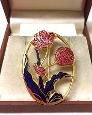 Vintage Firmado Peces & Crown Cloisonne Flor Broche Pin
