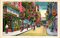 Vintage Postcard - Great Colors - Street Scene CHINATOWN New York City NY #4564
