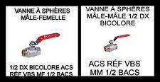 VANNE À SPHÈRES MÂLE-FEMELLE OU MÂLE MÂLE 1/2 DX ACS RÉF VBS MF 1/2 BACS ALTECH