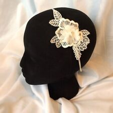 Ivory Chiffon & Lace Flower Appliqué Bridal Ascot Silver Headband Fascinator New