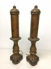 VINTAGE PAIR ANTIQUE PLASTER TABLE LAMPS W/ TUBE SHADES - MARKED - NO PLUGS