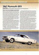 1967 PLYMOUTH GTX 426 HEMI  ~  NICE 6-PAGE RESTORATION ARTICLE / AD