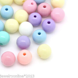 300-3000 Mix Acryl Bonbonfarbe Spacer Perlen Kugeln Beads 8mm Deko JO