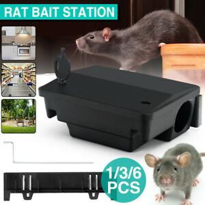 Up to 6X Rat Bait Defence Lockable Stations Trap Control Box Rodent Poison Mouse