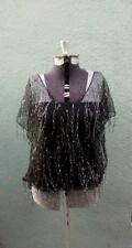 NEW BLACK HALO Bloomingdales Black Mesh Sheer Silver Top 4 XS