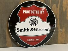 12in Smith And Wesson Rifle PORCELAIN ENAMEL SIGN Dealer Sign Hunting Guns