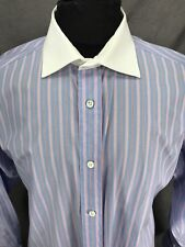 Faconnable Pink & Blue Striped White Collar French Cuff Dress Shirt 17 x 35