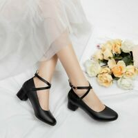 Ladies Strappy Low Heels Round Toe Ankle Buckle Casual Women Mary Jane Shoe Work