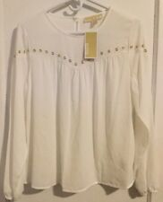 Michael Kors MK Womens White Gold Long Sleeve Blouse Size Small Ladies Shirt Top
