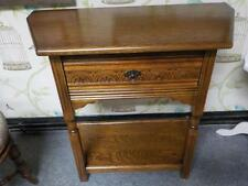 Oak Hall Side Table With Drawer & Shelf & Carved Detail