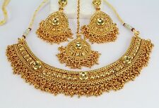 Party Wedding Bridal Indian Golden LCT Wedding Necklace Set Earring Women New