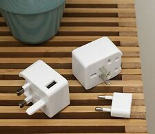 Kikkerland Travel Adapter Plug & USB Port Compact Block USA EU UK AUS Compatible