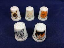 Vintage Cat Thimbles Set of 5 Kitty Cat Porcelain Kitten Sewing Thimbles