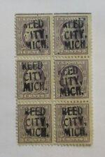 """PRECANCEL """"UNLISTED BLOCK of 6  PRECANCEL"""" """"REED CITY, MICHIGAN""""  PSS#???HS"""