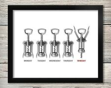 Funny Wine Poster, Wall Art Tgif, Corkscrew art, Humor poster 8x10 inches