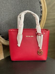 Michael Kors Jet Set Travel Extra Small Tote Leather Crossbody Bag Scarlet Red