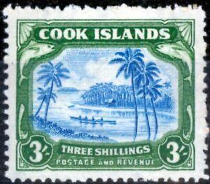 Cook Islands 1945 3s Greenish Blue & Green SG145 Fine Lightly Mtd Mint