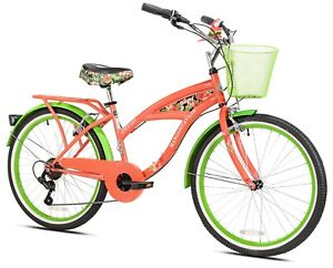 "Girl's Margaritaville Cruiser Bike 24"" Perfect Fit Frame Comfort Ride, Coral Red"