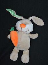 Peluche doudou lapin FIZZY Lapi choco gris blanc vert carotte orange 30 cm NEUF