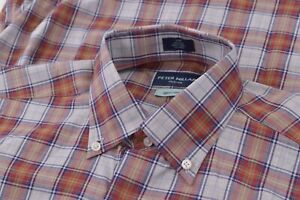 NWT Peter Millar Collection Small Dress Shirt Blue Orange Brand New Egyptian Co