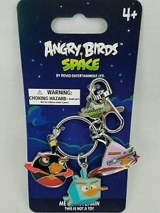 New Angry Birds Space Metal Charm Key Chain Souvenir Black Blue  Purple