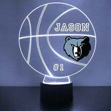 Memphis Grizzlies LED Night Light Personalized FREE NBA Basketball Light Up
