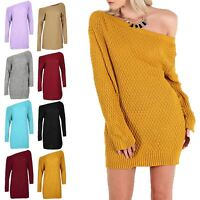 Womens Ladies Diamond Cable Knit Off The Shoulder Bardot Baggy Mini Jumper Dress