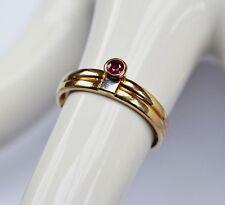 Designer Ring Damenring 8 Karat 333 Gold 1,39 g Gelbgold Rubin Solitär Gr. 53