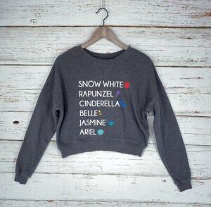 Disney Princess Cropped Sweatshirt Womens Juniors Sz Small Dark Gray Pullover