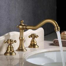3 Pcs Widespread Bathroom Sink Faucet Antique Two-Handle Basin Bathtub Mixer Tap