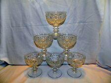 SIX CLEAR GLASS THUMBPRINT PEDESTAL SHERBET GLASSES