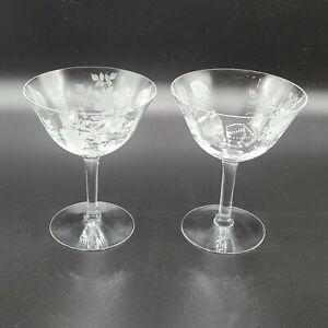 Vintage Cocktail Glasses Rose Etched Glass Martini Set of 2