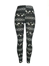 Reindeer Snowflake Black White Christmas One Size Leggings OS Soft FREE SHIPPING