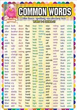 Laminated Common Key / Words Level 2 Educational childrens classroom kids Poster