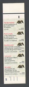 """US 1987 Booklet of 22 cent """"We the People"""" Stamps, Scott BK162"""