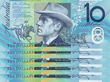 AUSTRALIA $10 Dollar 2013 Stevens+Parkinson P58g Run 5 GEM UNC CONSECUTIVE Nbr
