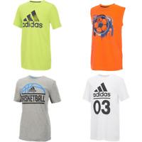 New Adidas Boys' Logo Graphic Tee Shirt