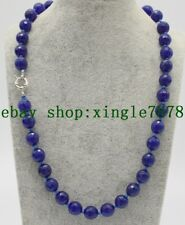 "Natural 8mm Faceted Blue Sapphire Round Gemstones Beads Necklace 20""AAA"