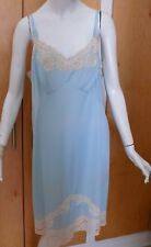1950`s Sweet Aqua Blue Slop with Nude Lace accents L