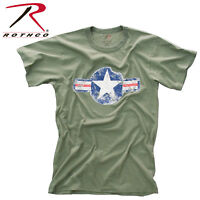 Mens Vintage Style Military T-shirt Army Air Corps Air Force Logo Rothco