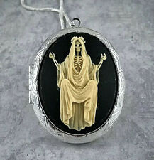 Santa Muerte Cameo Silver Locket Necklace, Angel of Night & Death Skeleton Lady