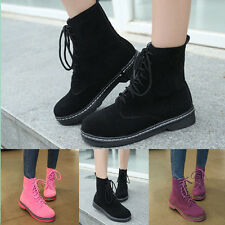 New Autumn Women Boots British Martin Mixs Color Suede Lace Up Women Shoes Size