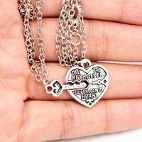 Best Friend Chain Pendant Key Chain Necklace Couple Lover Gift Broken Heart Gift