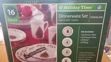 Holiday Time Dinnerware Set Porcelain Christmas Dinnerware NIB 16 pieces ser 4